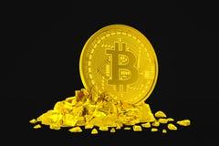 3d übertragen vom goldenen bitcoin auf schwarzem Hintergrund lizenzfreie abbildung