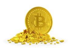 3d übertragen vom goldenen bitcoin auf weißem Hintergrund stock abbildung