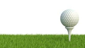 3d übertragen vom Golfball auf grünem Rasen auf Weiß Lizenzfreies Stockbild