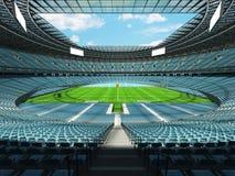 3D übertragen vom modernen runden Rugbystadion mit Himmelblau Sitzen und Promi Lizenzfreie Stockfotografie