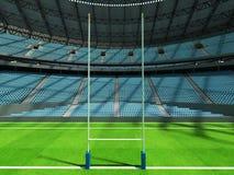 3D übertragen vom modernen runden Rugbystadion mit Himmelblau Sitzen und Promi Stockfotografie