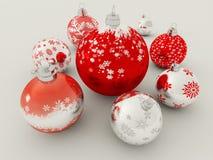 3D übertragen vom Rot und vom silbernen Feiertagsdekorationsflitter Stockfotos
