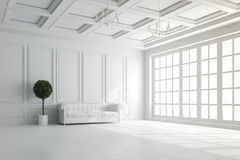 3d übertragen vom schönen Innenraum mit weißen Wänden und Deckeneinrichtung vektor abbildung