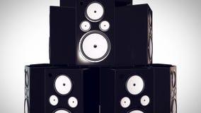 3D übertragen vom Schlagen von Bass Speakers Stockfotos