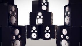 3D übertragen vom Schlagen von Bass Speakers Lizenzfreies Stockfoto