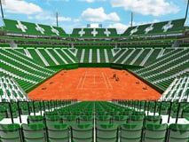 3D übertragen von den schönen modernen Tennissandplatzstadions-Grünsitzen für fünfzehn tausend Fans Stockbild