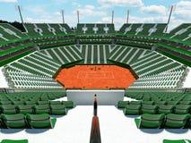 3D übertragen von den schönen modernen Tennissandplatzstadions-Grünsitzen für fünfzehn tausend Fans Stockfotos
