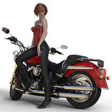 3D übertragen von der Frau, die auf Motorrad sich lehnt Vektor Abbildung
