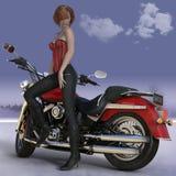 3d übertragen von der Frau und vom Motorrad Lizenzfreie Abbildung