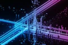3D übertragen von der futuristischen Stadt Große Daten stock abbildung