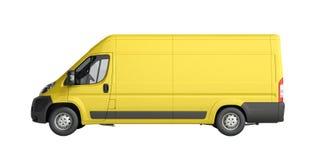 3d übertragen von der gelben Lieferung Van Icon keinen Schatten Stockfotografie