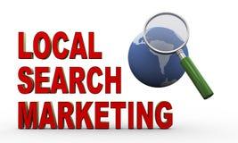 Kugel 3d, Vergrößerungsglas und lokales Suchmarketing Stockfotos