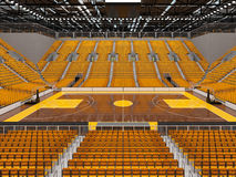 3d übertragen von der schönen Sportarena für Basketball mit gelben Sitzen und Promi-Kästen Lizenzfreie Stockbilder