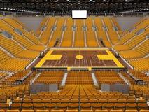 3d übertragen von der schönen Sportarena für Basketball mit gelben Sitzen und Promi-Kästen Stockbilder