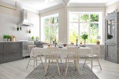 3d übertragen von der skandinavischen Ebene - Küche Stockfoto
