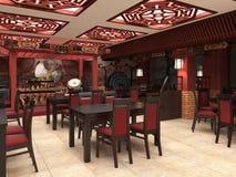 3d übertragen von einem chinesischen Restaurantinnenraum Lizenzfreie Stockfotografie