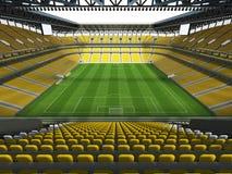 3D übertragen von einem Fußball der großen Kapazität - Fußball Stadion mit einem offenen Dach und gelben Sitzen Stockfotografie