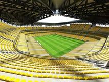 3D übertragen von einem Fußball der großen Kapazität - Fußball Stadion mit einem offenen Dach und gelben Sitzen Stockbild