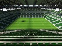 3D übertragen von einem Fußball der großen Kapazität - Fußball Stadion mit einem offenen Dach und grünen Sitzen Stockfotografie
