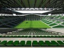 3D übertragen von einem Fußball der großen Kapazität - Fußball Stadion mit einem offenen Dach und grünen Sitzen Stockbilder