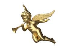 3d übertragen von einem glänzenden Engel mit Trompete Lizenzfreie Stockfotos