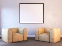 3d übertragen von einem Innenmodell mit einem Plakat Lizenzfreie Stockbilder