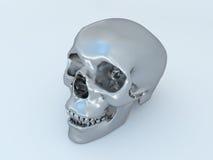 3D übertragen von einem Metallmensch Scull Stockfoto