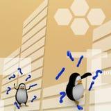 3d übertragen von einem Pinguin, der durch Fragezeichen Illustration umgeben wird Stockbilder
