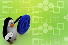 3d übertragen von einem Pinguin mit an der Ratensymbol Illustration Stockfoto
