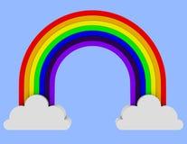 3d übertragen von einem Regenbogen, der zwei Wolken überspannt lizenzfreie abbildung