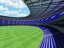 3D übertragen von einem runden Australierregel-Fußballstadion mit blauen Sitzen Stockfoto
