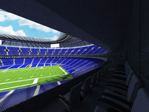 3D übertragen von einem runden Fußballstadion mit blauen Sitzen für hundert tausend Fans Lizenzfreies Stockfoto