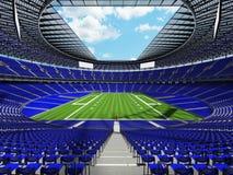 3D übertragen von einem runden Fußballstadion mit blauen Sitzen für hundre Stockbilder