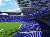 3D übertragen von einem runden Fußballstadion mit blauen Sitzen für hundre Stockbild