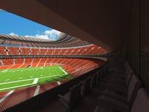 3D übertragen von einem runden Fußballstadion mit orange Sitzen Lizenzfreie Stockbilder