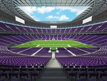 3D übertragen von einem runden Stadion des amerikanischen Fußballs mit purpurroten Sitzen Stockbild