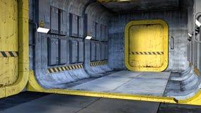 3D übertragen von einem Sciencefictionskorridorhintergrund oder -hintergrund stock abbildung
