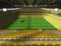3D übertragen von einem Stadion Fußballfußball der großen Kapazität mit einem offenen Dach und gelben Sitzen Stockfotos