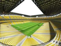 3D übertragen von einem Stadion Fußballfußball der großen Kapazität mit einem offenen Dach und gelben Sitzen Lizenzfreie Stockfotos