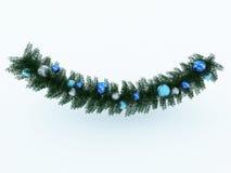 3d übertragen von einer schönen Weihnachtskranzdekoration auf schwarzem Hintergrund Lizenzfreie Stockbilder