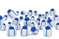 3d übertragen von fallenden Weihnachtsgeschenken Lizenzfreies Stockbild