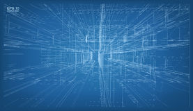 3D übertragen von Gebäude wireframe Struktur Vektor Architektur Lizenzfreie Stockbilder
