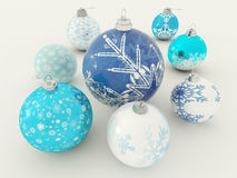3D übertragen von schönen blauen und weißen Feiertagsdekorationen Lizenzfreie Stockfotos