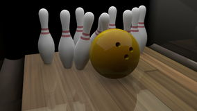 3d übertragener Bowlingspielstreik stock footage