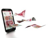 3D übertragenes chinesisches Geld gekippt und auf weißem Hintergrund lokalisiert Stockfoto