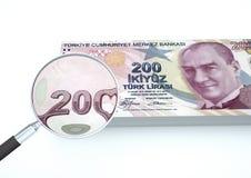3D übertragenes die Türkei-Geld mit dem Vergrößerungsglas forschen Währung lokalisiert auf weißem Hintergrund nach Stockbild