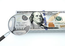 3D übertragenes Geld Vereinigter Staaten mit dem Vergrößerungsglas forschen Währung lokalisiert auf weißem Hintergrund nach stock abbildung
