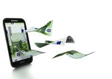 3D übertragenes neues Eurogeld gekippt und auf weißem Hintergrund lokalisiert lizenzfreie abbildung
