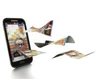 3D übertragenes neues Iraeli-Schekelgeld gekippt und auf weißem Hintergrund lokalisiert lizenzfreie abbildung