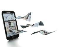 3D übertragenes saudisches Geld gekippt und auf weißem Hintergrund lokalisiert vektor abbildung